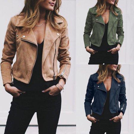 Fashion Womens Ladies Leather Jackets Elegant Zip Up Biker Casual Coats Flight vintage chaquetas veste femme vogue