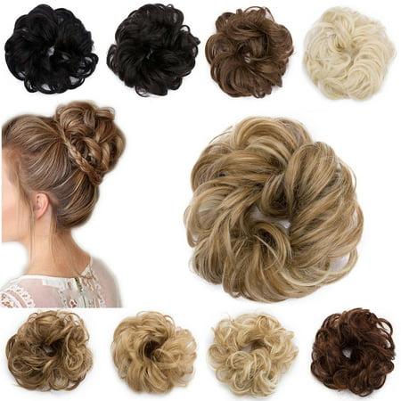 S-noilite Women Hair Pieces Messy Hair Scrunchie Fake Hair Bun Extensions Wigs 1 pcs Bleach Blonde,30g
