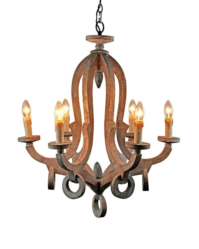 Parrot Uncle Rustic 6-Light Wooden Candle Style Chandelier Pendant Light ,Antique  Wood - Walmart.com - Parrot Uncle Rustic 6-Light Wooden Candle Style Chandelier Pendant