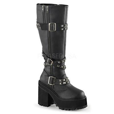 ASST203 BVL Blk Vegan Leather Demonia Vegan Boots Womens Size: 10 by