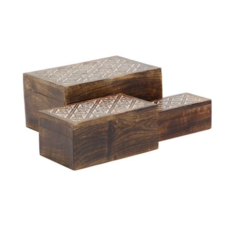 Decmode Rustic Decor Carved Ornate Mango Wood Storage Boxes, Brown - Set of 3 ()