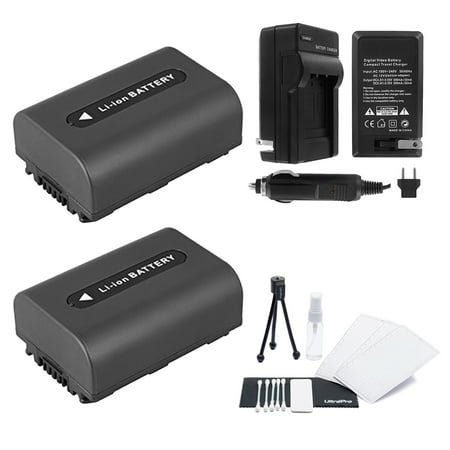 2-Pack NP-FH60 High-Capacity Replacement Batteries with Rapid Travel Charger for Select Sony Camcorders - UltraPro Bundle Includes: Camera Cleaning Kit, Camera Screen Protector, Mini Travel Tripod (Sony Screen Replacement Kit)