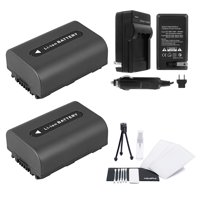 2-Pack NP-FH60 High-Capacity Replacement Batteries with Rapid Travel Charger for Select Sony Camcorders - UltraPro Bundle Includes: Camera Cleaning Kit, Camera Screen Protector, Mini Travel Tripod