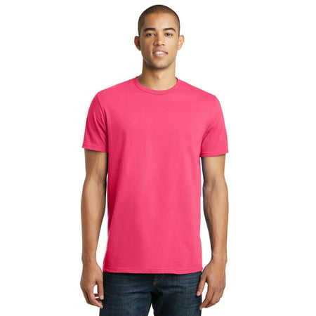 District Threads Young Mens Concert Tee. Neon Pink. 2XL.