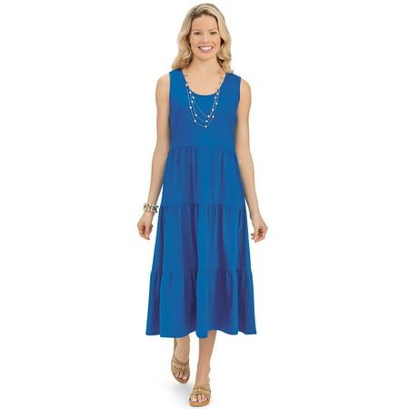 Jersey Knit Tank Dress - Women's Tiered Cotton Knit Jersey Sleeveless Summer Dress with Scoop Neckline, Xx-Large, Navy