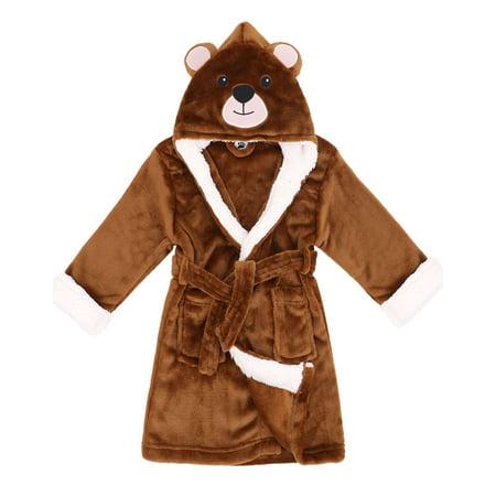 Girls Robe Zoo Crew Fuzzy Sherpa Lined Hooded Animal Bathrobe,Bear,L(7-9 Years)