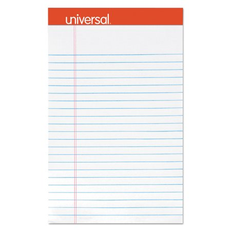 Universal Perforated Ruled Writing Pad, Narrow Rule, 5 x 8, White, 50 Sheet, Dozen -
