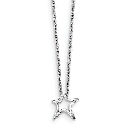 Mia Diamonds Solid Sterling Silver White Ice Diamond Star Necklace (Ice Diamond Necklace)