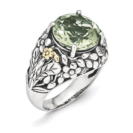 Sterling Silver w/14k Green Quartz - Sterling Silver Green Quartz Ring