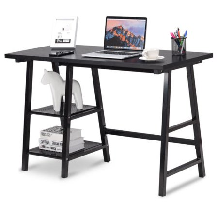 Modern Trestle Computer Desk Writing Laptop Table Open Tiers Shelves Black - image 5 de 10