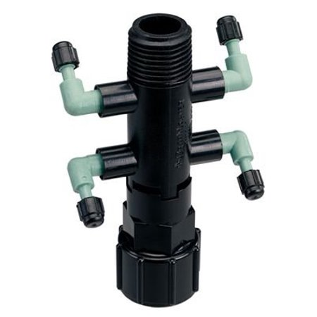 - Orbit Drip System Shrub Adapter 4-Port Watering Manifold for 1/4