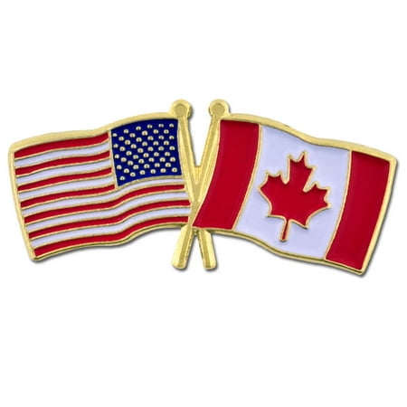 USA and Canada Crossed Friendship Flag Enamel Lapel (Canada Flag Pin)