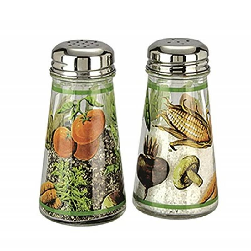 Click here to buy Grant Howard Hand Painted Tapered Salt and Pepper Shaker Set, Veggies, Multicolor by Grant Howard.