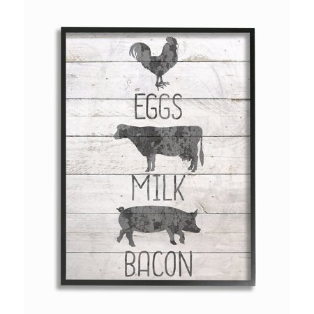 The Stupell Home Decor Farmhouse Planked Look Eggs Milk and Bacon Typography with Chicken Cow and Pig Framed Texturized Art (Milk Decor)