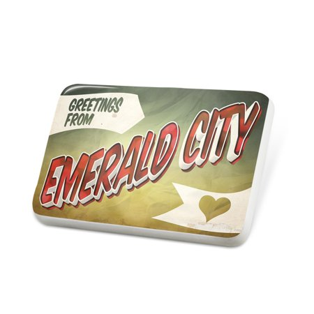 Emerald City Vintage (Porcelein Pin Greetings from Emerald City, Vintage Postcard Lapel Badge – NEONBLOND)
