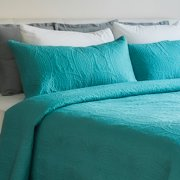 Mezzati Bedspread Coverlet Set Blue-Ocean Teal – Bedding Cover – Brushed Microfiber Bedding 3-Piece Quilt Set (Queen/Full, Blue Ocean Teal)