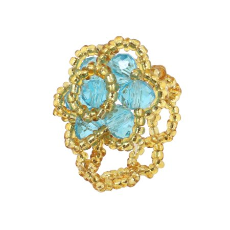 Finger Ornament Round Beads Flower Ring Blue Yellow US 4 for Women