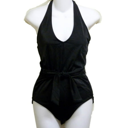 Tropical Escape Womens Black Halter 1 Piece Swimsuit Bathing Suit Tropical Bathing Suit