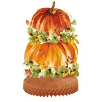 Watercolor Pumpkins Fall Centerpiece Decoration, 14 in, 1ct