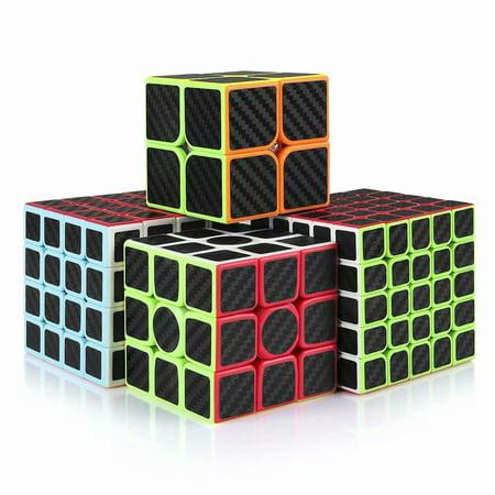 Magic Cube,Rubiks Cube Speed Cube Set,2x2 3x3 4x4 5x5 Carbon Fiber Sticker Cube Bundle for Kids (Cube Rubik 2x2 Moyu)