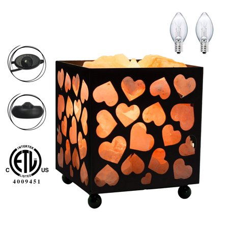 Himalayan Glow Natural Salt Lamp, Heart Design Metal Basket Night Light