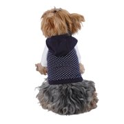 Blue White Polka Dot Hoodie For Puppy Dog - Medium (Gift for Pet)