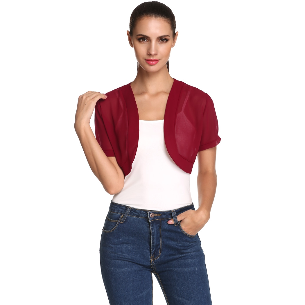 Meaneor Women Sheer Chiffon Short Sleeve Cropped Bolero Shrug Cardigan Top