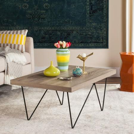 Safavieh Amos Rectangular Retro Mid Century Wood Coffee Table, Light Grey/Black - Light Wood Coffee Table