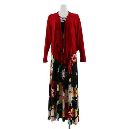 Attitudes Renee Printed Maxi Dress Cardigan