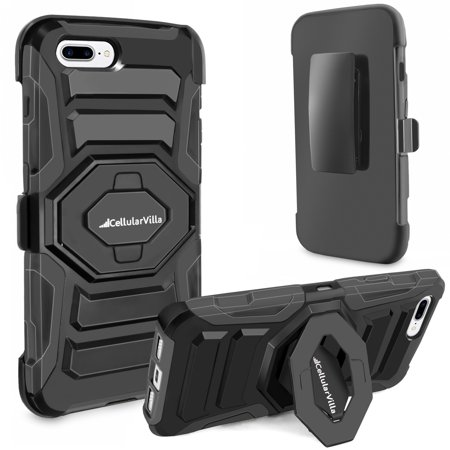 - iPhone 7 Plus Case, Cellularvilla Shockproof [Dual Layer] [Heavy Duty] Armor Rugged Combo Holster Case with [Belt Swivel Clip] Swivel Kickstand for Apple iPhone 7 Plus (5.5 Inch) (Black)
