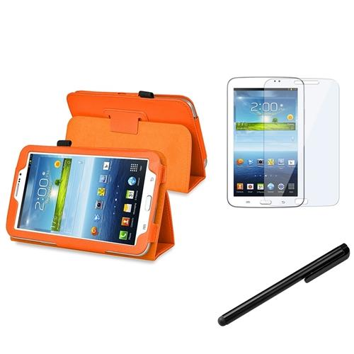Insten Orange Leather Stand Case Cover for Samsung Galaxy Tab 3 Kids+Protector+Stylus