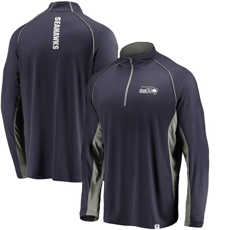 Seattle Seahawks NFL Pro Line by Fanatics Branded Iconic Quarter-Zip Pullover Jacket - College Navy