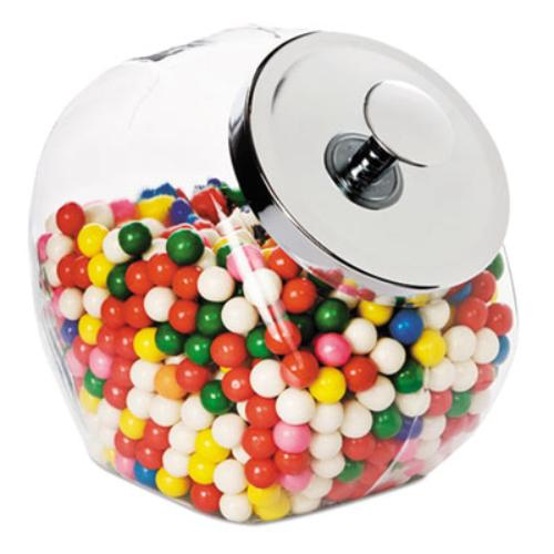 Office Settings Penny Candy Display Container - 4 Quart Candy Jar - Glass Jar, Metal, Chrome - Candy Jar - 1 / Carton (sj02_40)