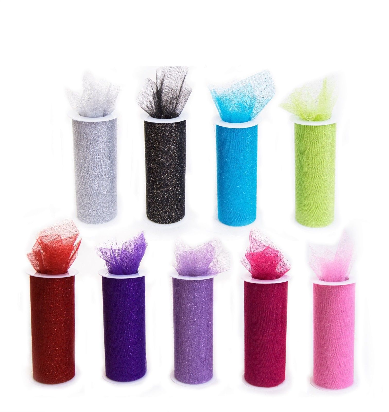 """(2-pack) Wedding CONFETTI Glitter Tulle Roll 6"""" x 30ft (10 yards)"""