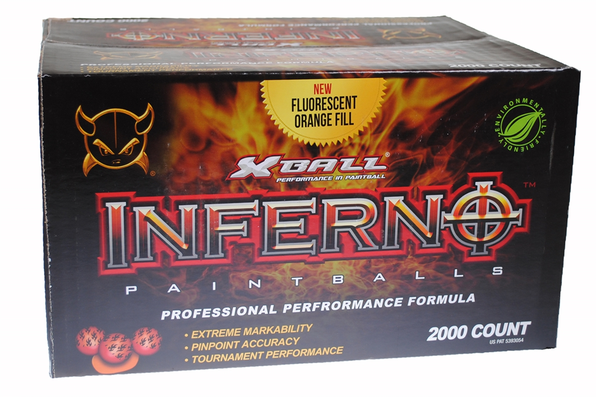 XBALL INFERNO 2000 Paintballs Ruby   Magma Shell BRIGHT ORANGE FILL by
