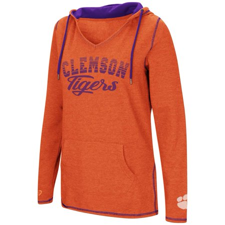 - Clemson University Tigers Ladies V-Neck Hoodie Pullover Sweatshirt