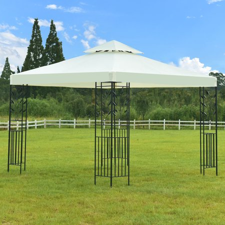 Gymax 2-Tier 10'x10' Gazebo Canopy Shelter Patio Wedding Party Tent Awning Beige (10 Garden Party Gazebo)