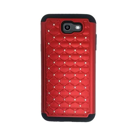 (Phone Case For Straight Talk Galaxy J7 Sky Pro / Samsung Galaxy J7V Verizon / Samsung Galaxy J7 Perx / Galaxy J7 2017, Studded Rhinestone Diamond Bling Cover Case (Red))