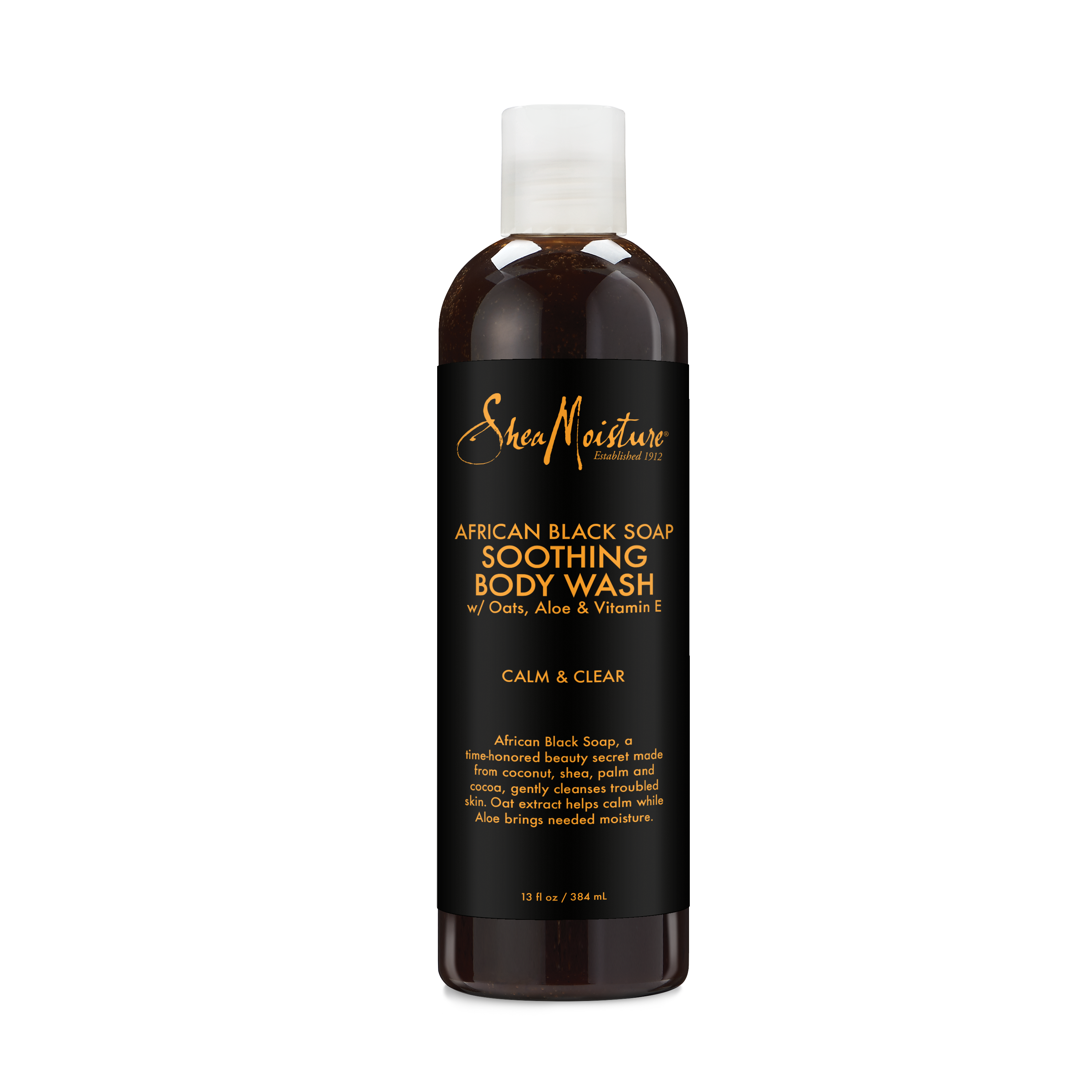 African Black Soap Body Wash - Moisturizes and Soothes Dry, Sensitive Skin - Sulfate-Free with Natural and Organic Ingredients - Cleanses Pores and Hydrates for Smooth Skin (13 oz)