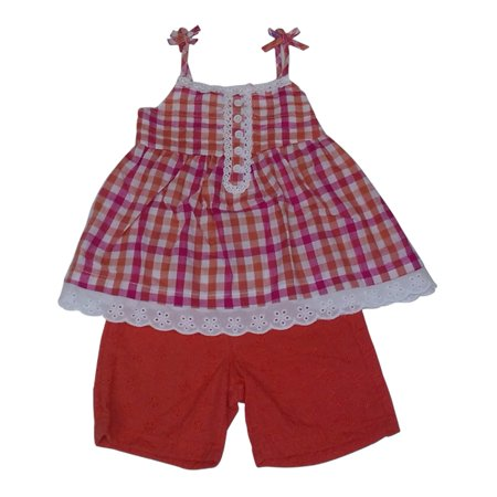 Image of American Character Little Girls Orange White Lace Trim Tank Top Shorts Set 2-4T