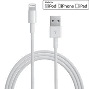 [2-Pack] Apple MFi Certified 6.6 feet (2 m) Data Sync Lightning to USB Charger iPhone Charging Cable Cord for iPhones by Clambo - White