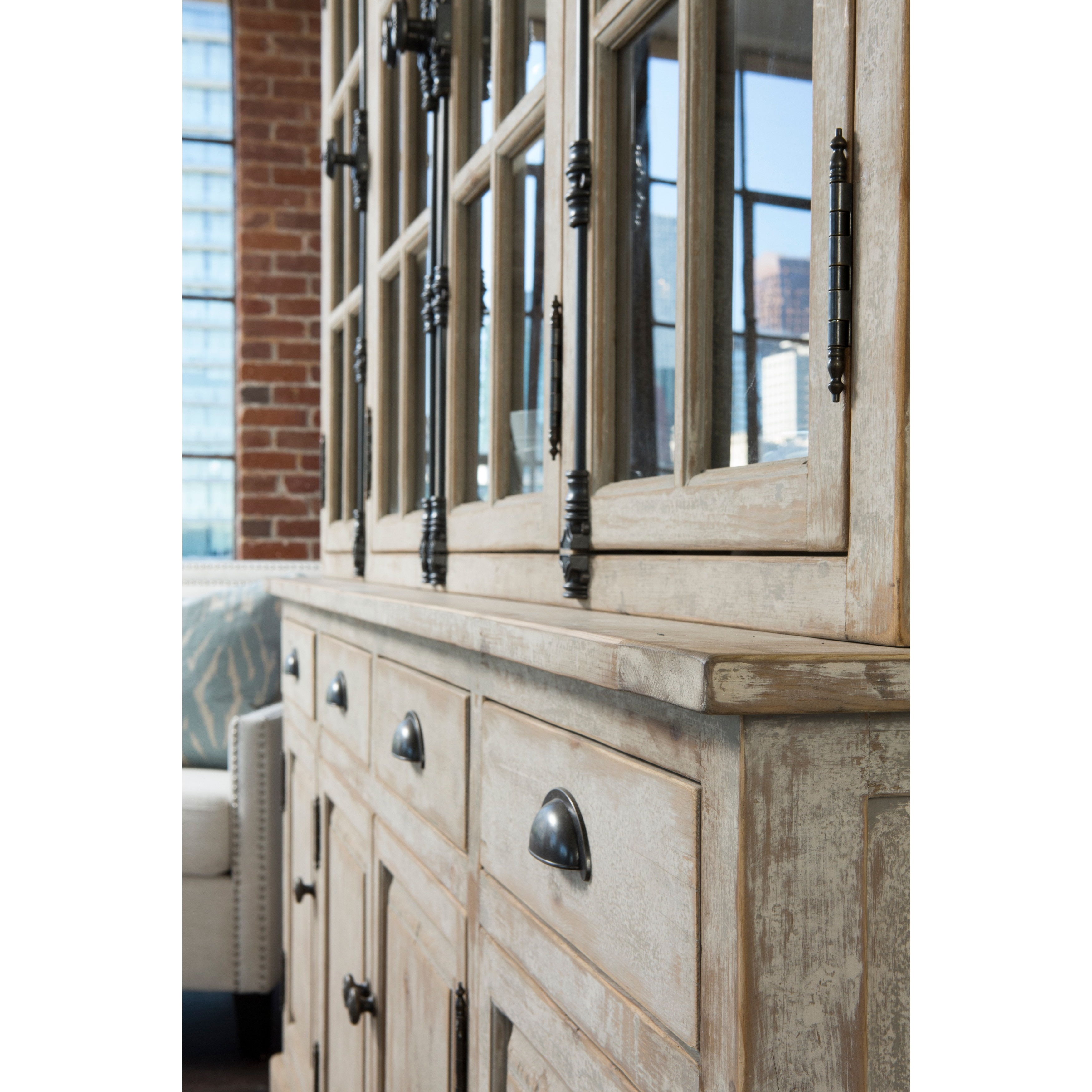 attic raw cabinet hutch rustic china heirlooms oak broyhill