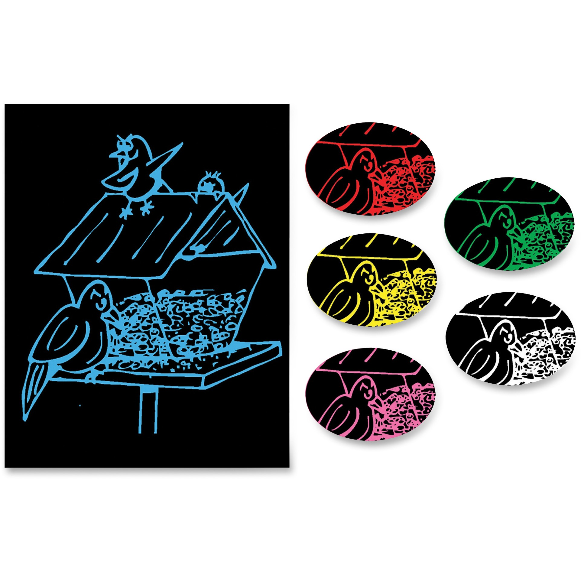 Creativity Street Now You See It! Etch Board, Red, Yellow, Blue, Pink, White, Black, 12 / Pack (Quantity)