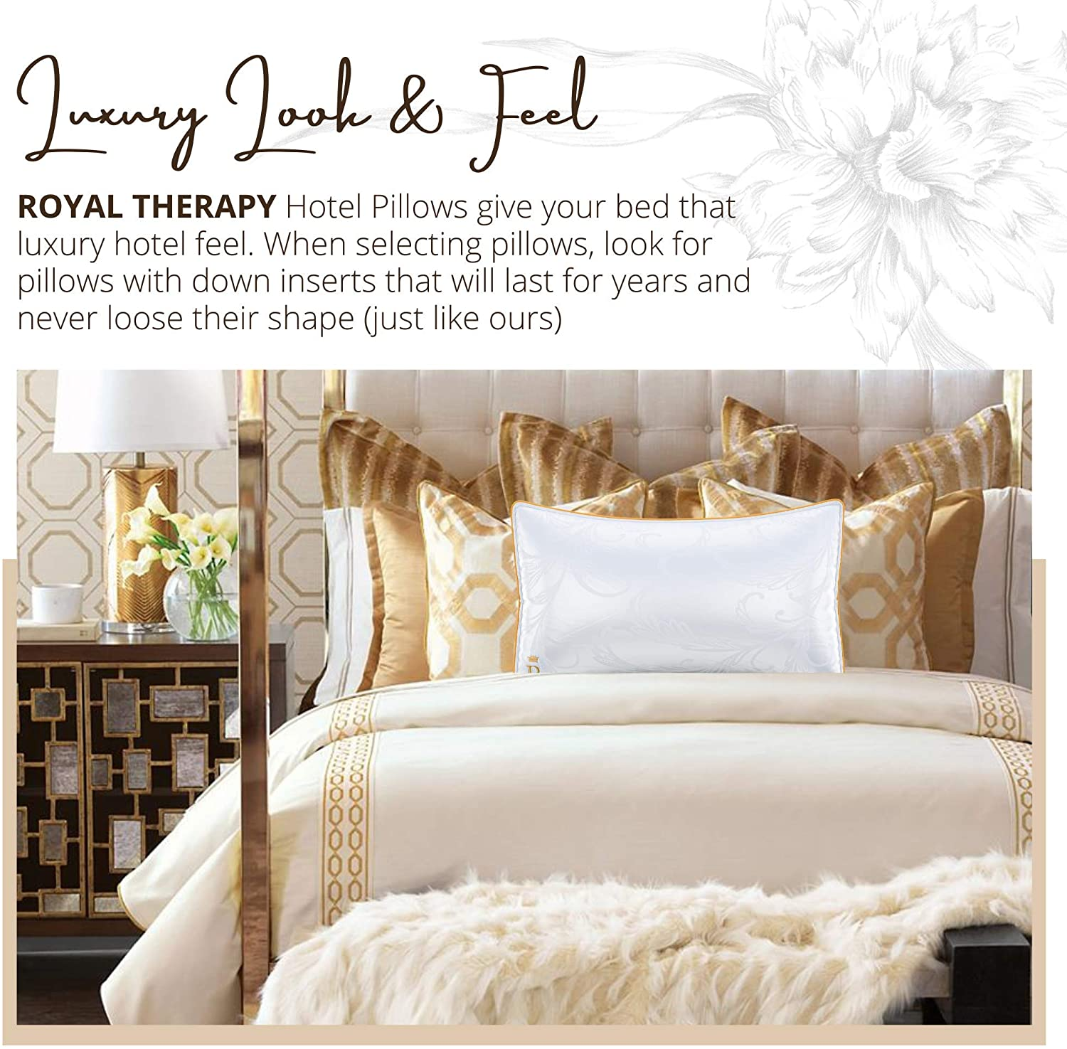 A Set of Premium Plush Gel Microfiber Down Alternative Hypoallergenic Bed Pillows Stomach /& Back Sleepers ROYAL THERAPY Queen Professional Hotel Pillows Double-Pack