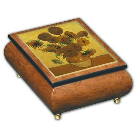 Pinks Denver (Beautiful Sunflowers Theme Inlaid Ercolano Art Musical Jewelry Box, Music Selection - Amapola -)