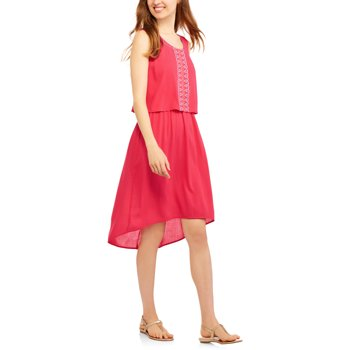 California Happenings Women's Embroidered Sleevess Cinched Dress