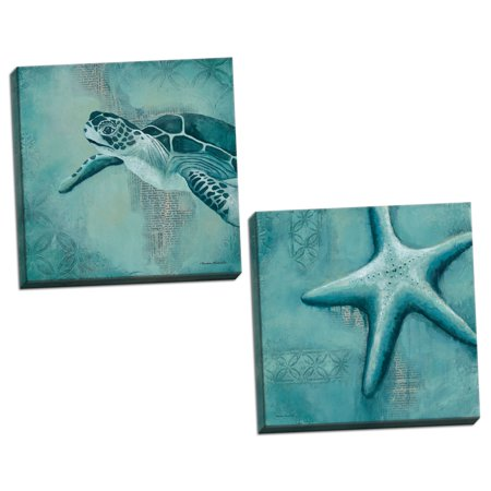 Gango Home Decor Coastal Starfish & Sea Turtle by Kendra Runnels (Ready to Hang); Two 12x12in Hand-Stretched Canvases