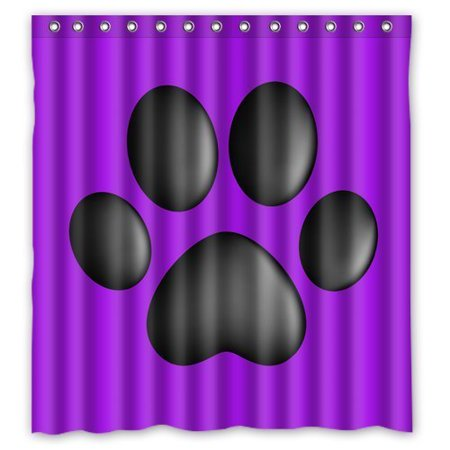 GreenDecor Paw Prints On Red Purple Waterproof Shower Curtain Set With Hooks Bathroom Accessories Size 66x72 Inches