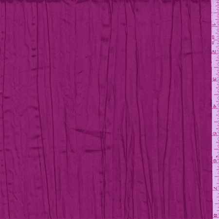 Iridescent Berry Pink Crushed Polyester Taffeta, Fabric By the Yard