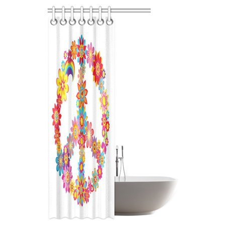 POP Peace Decor Collection, Peace Flower Symbol Nature Youthful Flourishes Festive Happiness Hippie Bathroom Shower Curtain 36x72 inch - image 1 of 3